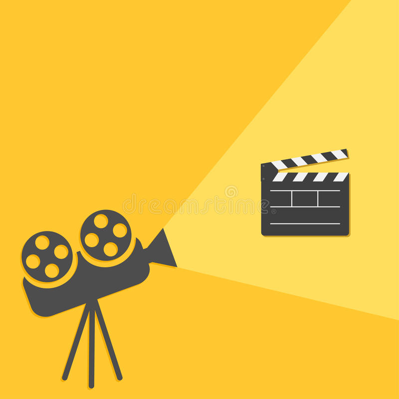 Kinowy projektor z światło filmu clapper deski szablonu Otwartą ikoną Płaski projekta styl ilustracji