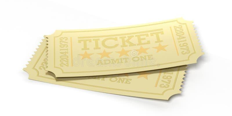 Kinowy stary typ złoci bilety odizolowywający przetwarza na białym tle, 3d ilustracja ilustracji