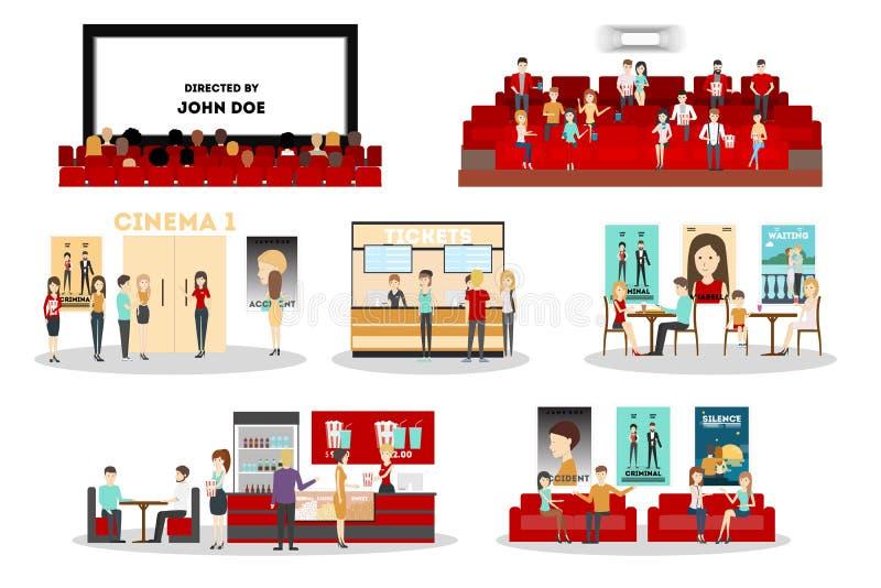 Kinowy wnętrze set royalty ilustracja