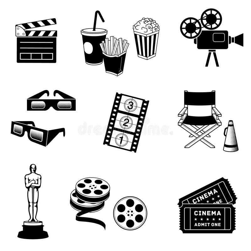 kinowych ikon odosobneni filmy ustawiają biel royalty ilustracja