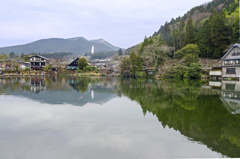 Kinrinko湖在Yufuin,南日本 免版税库存图片