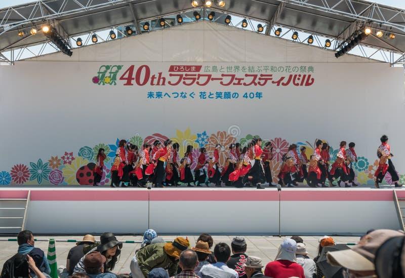 Kinsai Yosakoi Dance Parade. Hiroshima, Japan - May 5, 2016: Kinsai Yosakoi Dance showing on The final day of Hiroshima's annual Flower Festival. The stock image