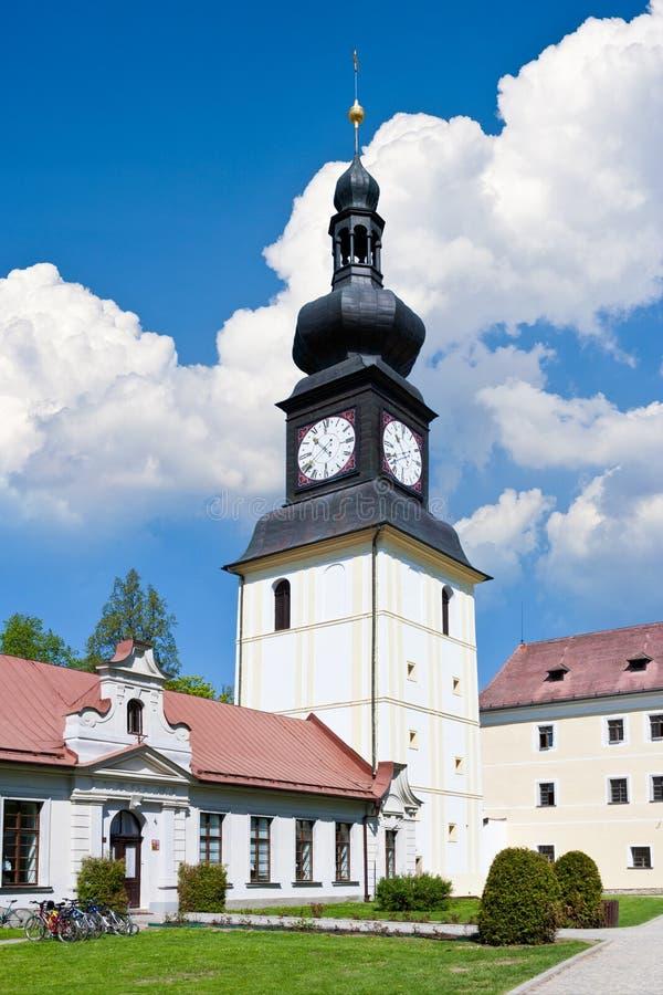 The Kinsky chateau and bell tower, Zdar nad Sazavou, Czech Repu stock images