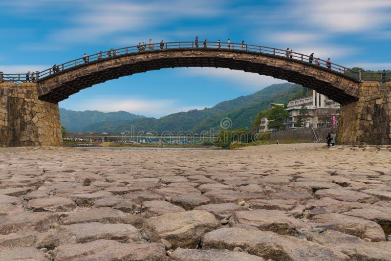 Kintai most dziejowy drewniany łuku most zdjęcia royalty free