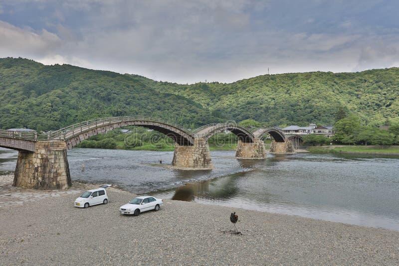 Kintaibrug in Iwakuni, Yamaguchi-Prefectuur stock foto's