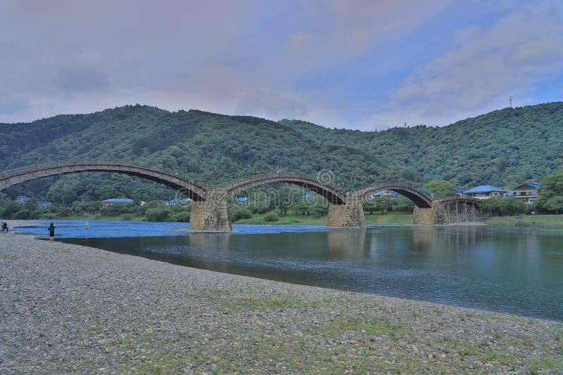 Kintaikyo bro i Iwakuni, Hiroshima, Japan arkivfoton