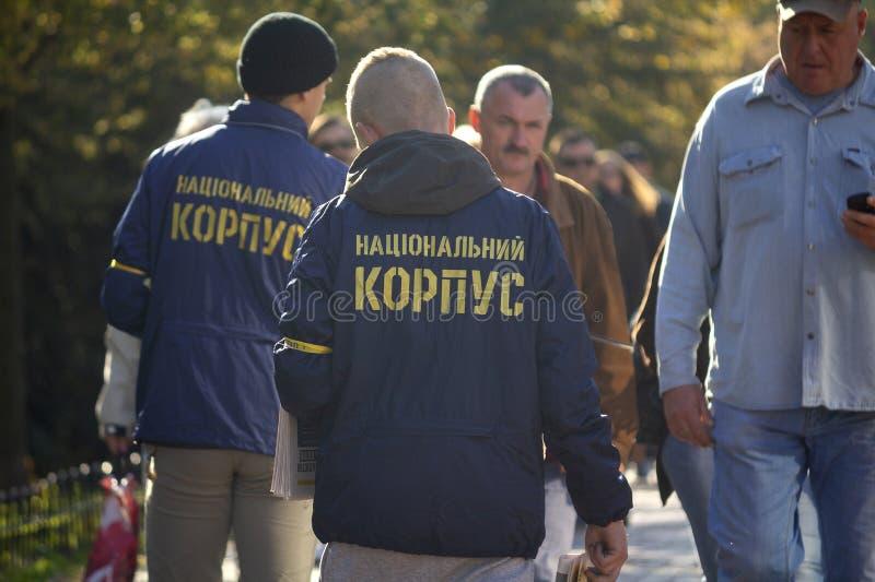Kinv, Ukraine - 14 octobre 2018 : Activistes et défenseurs du parti politique national de corps photo libre de droits
