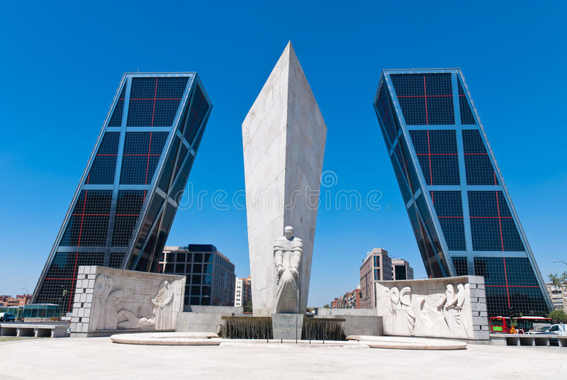 KIO Towers in Madrid, Spain royalty free stock photo