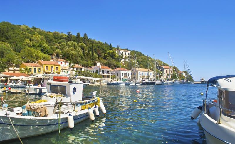 Kioni at Ithaca Greece. Kioni port at Ithaca Ionian islands Greece royalty free stock photos