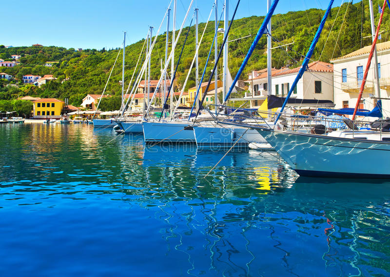 Kioni port at Ithaca Greece. Kioni port at Ithaca Ionian islands Greece stock photography