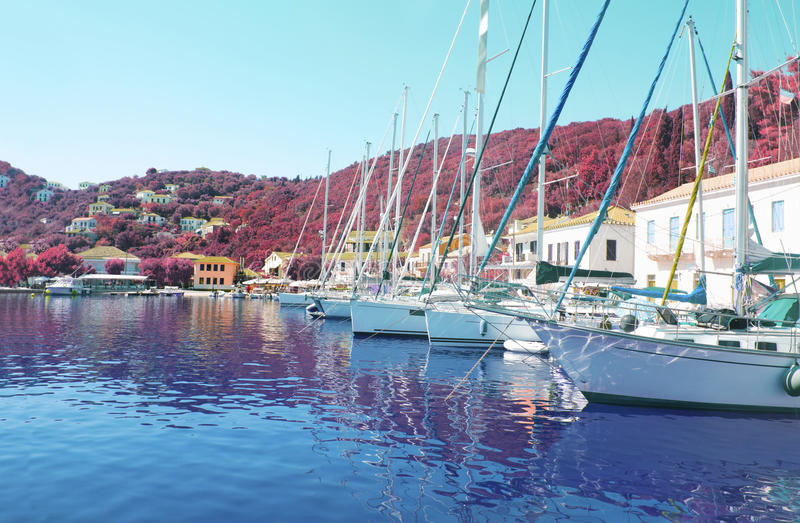 Kioni port at Ithaca Greece. Kioni port at Ithaca Ionian islands Greece stock image