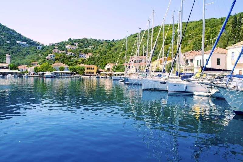 Kioni port in Ithaca Greece royalty free stock photography
