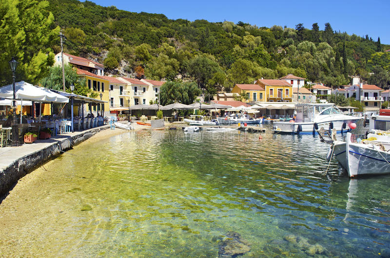 Kioni port in Ithaca Greece. Kioni port in Ithaca island Greece royalty free stock image