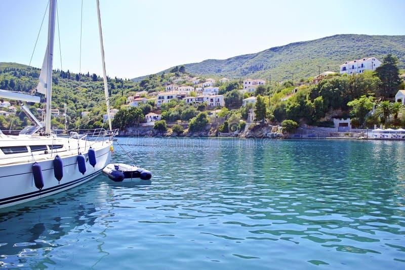 Kioni port Ithaca Greece. Kioni port in Ithaca island Greece royalty free stock images