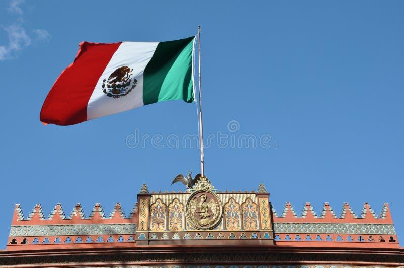 Kiosco Morisco de Santa Maria la Ribera, Mexico City. Mexican flag blowing in the wind atop the Kiosco Morisco de Santa Maria la Ribera, Mexico City stock photos