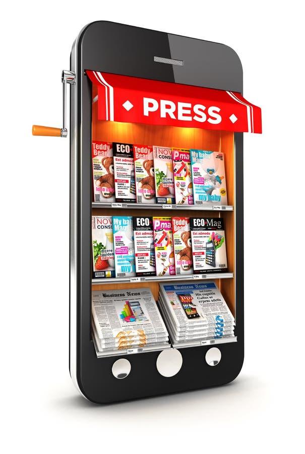 Kiosk 3d Smartphone lizenzfreie abbildung