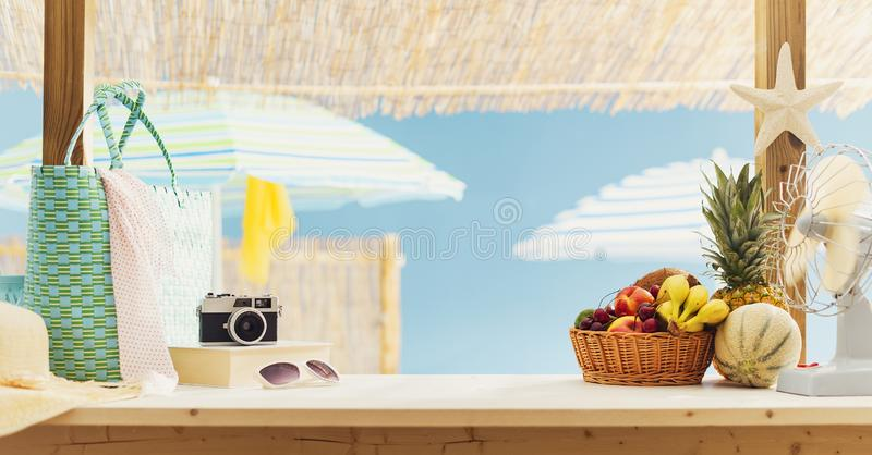 Kiosk with fresh delicious fruit at the beach royalty free stock photography