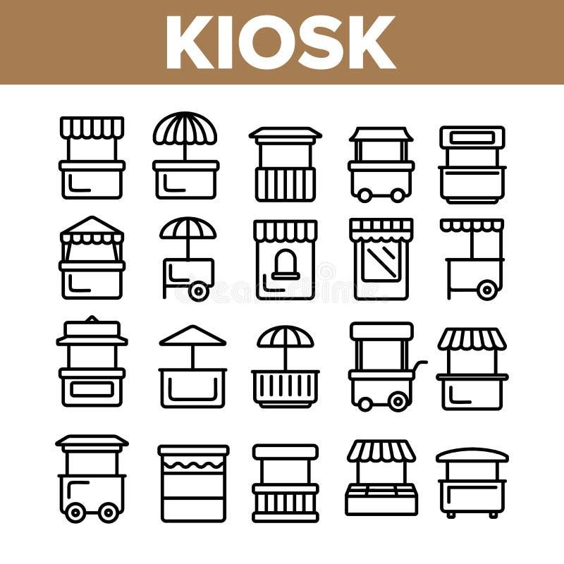 Kiosk, Markt-St?lle schreibt linearen Vektor-Ikonen-Satz vektor abbildung