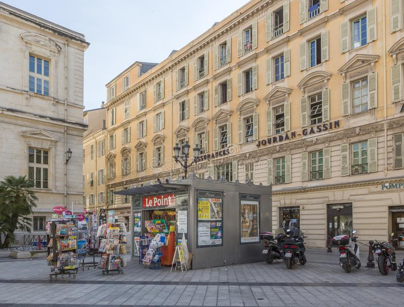 Kiosk op Place du Palais in Nice, Frankrijk stock afbeelding