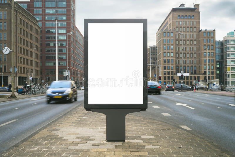 Kiosk. Outdoor kiosk city advertising in Amsterdam royalty free stock photos