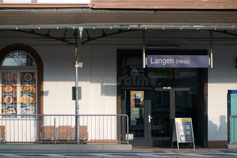 Kiosk in the station Langen. Langen, Germany - March 23, 2019: A kiosk with snack in the station building of the station Langen on March 23, 2019 in Langen stock photos