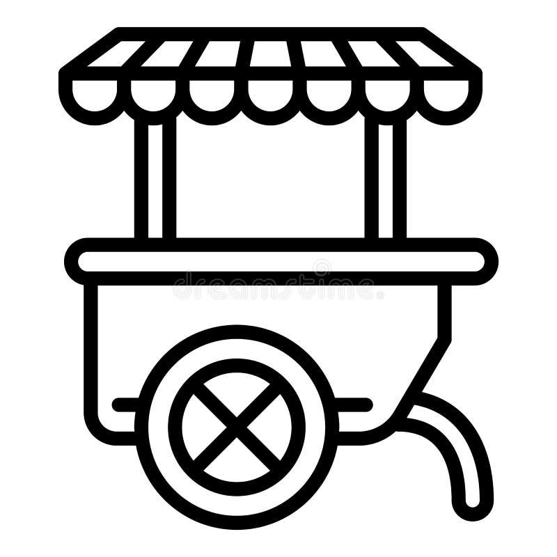 Kioskvagnssymbol, översiktsstil stock illustrationer