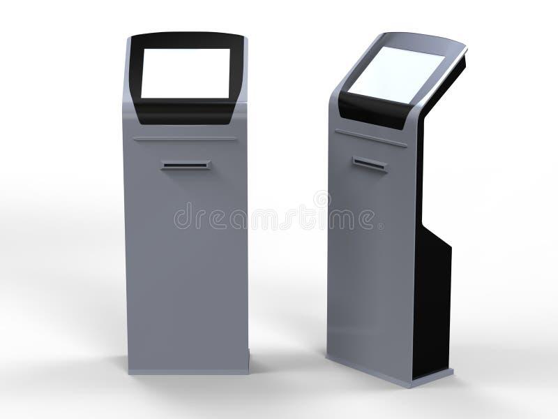 Kiosque d'écran tactile de l'information avec le lecteur de cartes d'imprimante thermique de billet et de bande magnétique l'illu illustration de vecteur