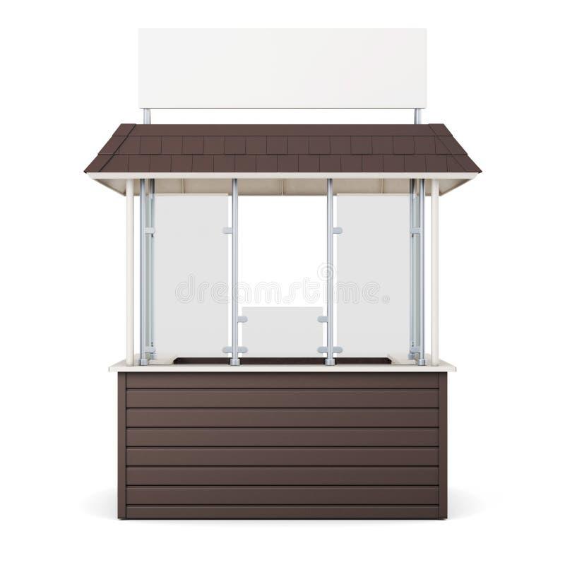 Kiosque de Brown d'isolement sur un fond blanc rendu 3d illustration libre de droits