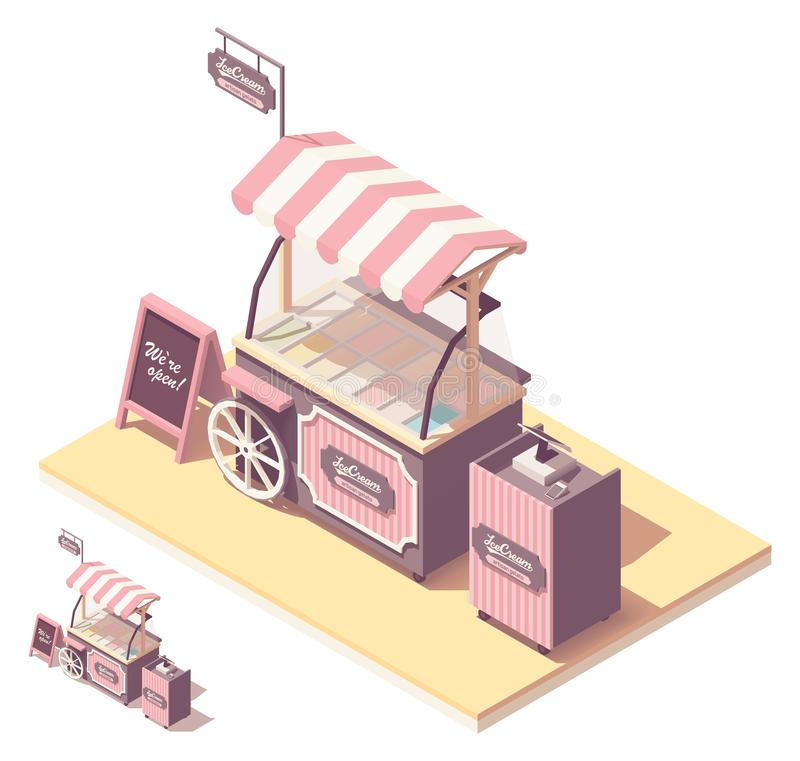Kiosque isométrique de chariot de crème glacée de vecteur illustration de vecteur