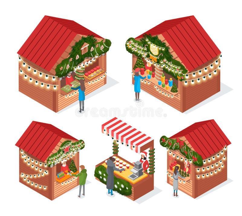 Kiosques et stalles du marché de Noël avec des souvenirs illustration libre de droits