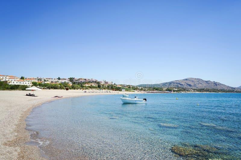 Kiotari海滩,罗得岛,希腊 免版税库存照片