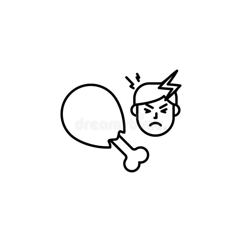 kip, allergisch pictogram Element van problemen met allergieënpictogram Dun lijnpictogram voor websiteontwerp en ontwikkeling, ap vector illustratie