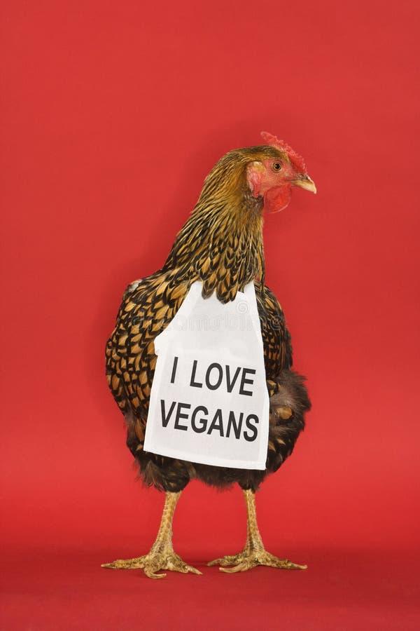 Kip die teken draagt