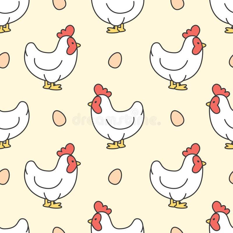 Kip en ei Naadloze Patroonachtergrond vector illustratie