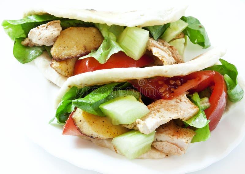 Kip en Groentenkebab stock afbeelding