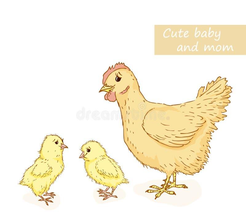Kip en kip royalty-vrije illustratie
