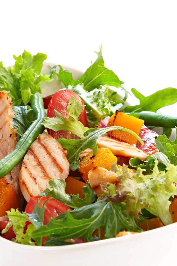 Kip en Plantaardige Salade stock fotografie