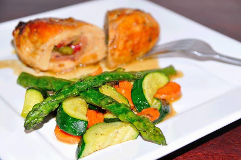 Kip en vegatables royalty-vrije stock afbeelding