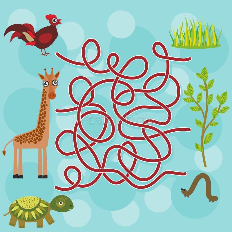 Kip, giraf, schildpad, labyrintspel voor Peuterkinderen Vector royalty-vrije illustratie