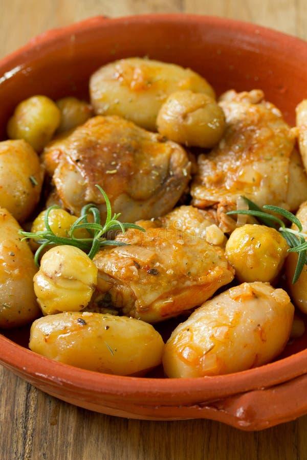 Kip met aardappel en kastanjes royalty-vrije stock fotografie