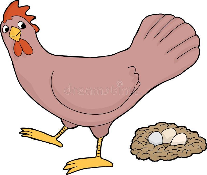 Kip met eieren vector illustratie