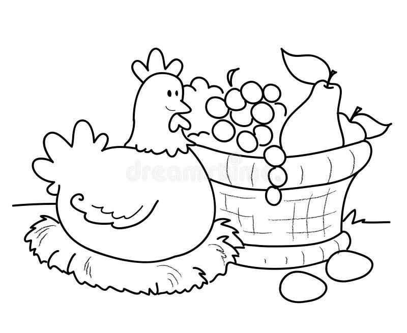 Kip met fruitmand stock illustratie