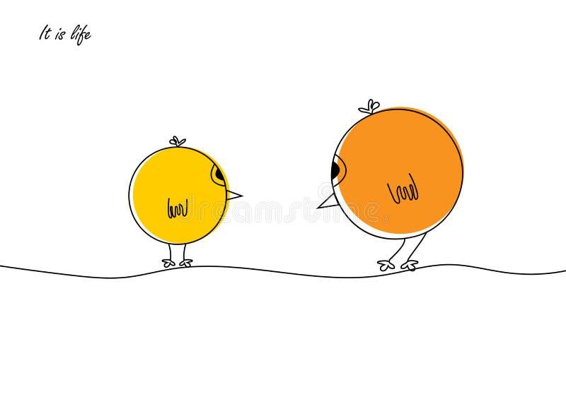 Kip met Kuiken in vlak ontwerp De illustratie het is het leven Vogels gele kleur royalty-vrije illustratie