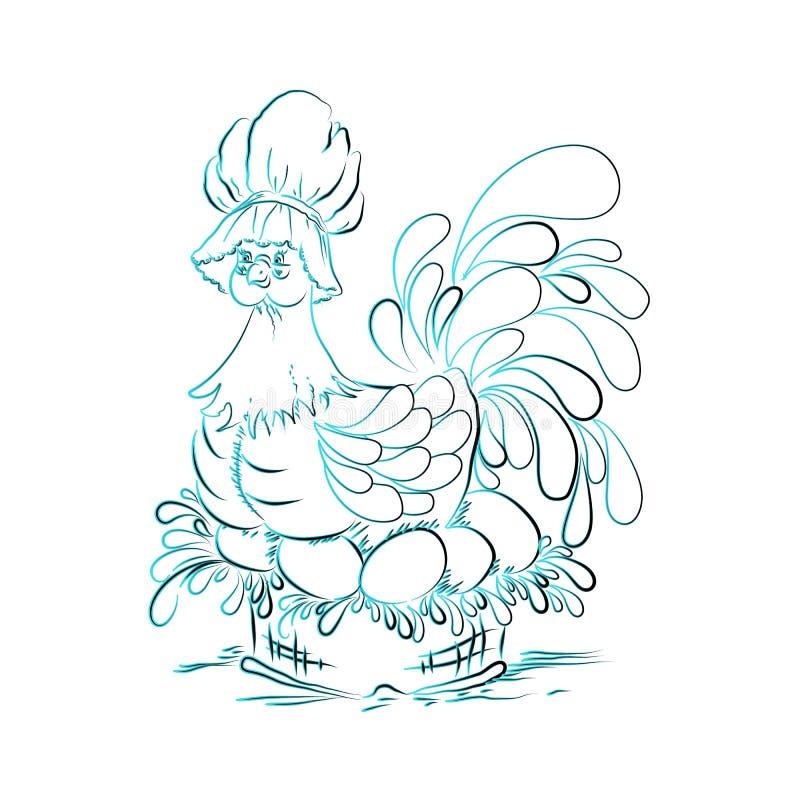 Kip op paaseierenblauw stock illustratie