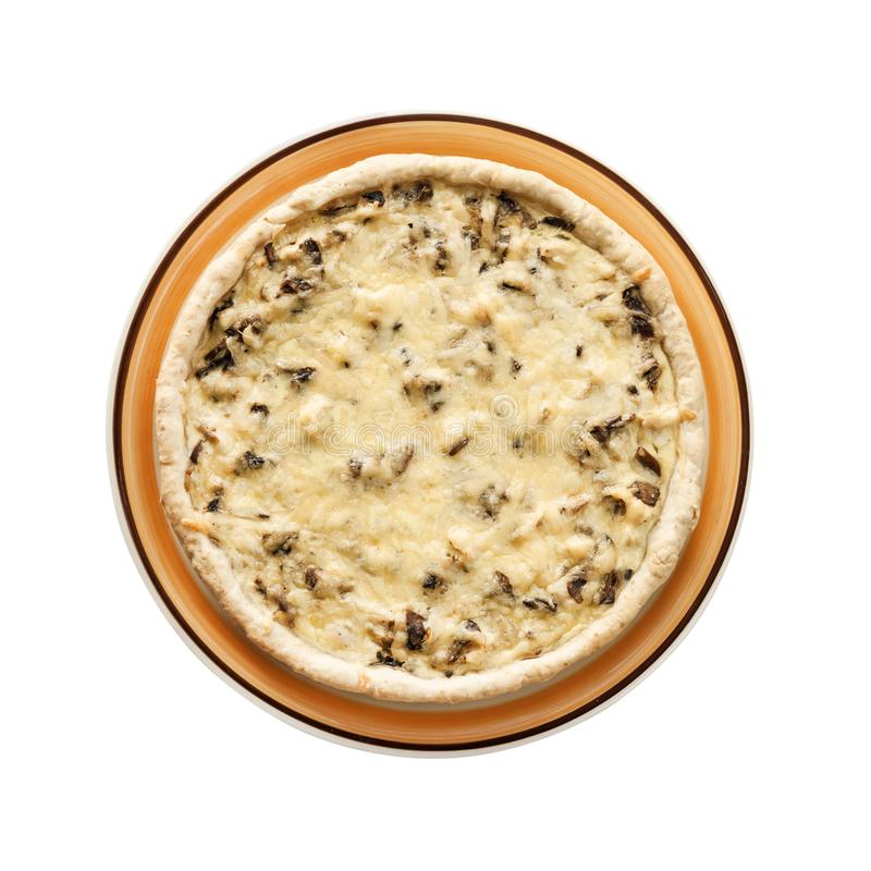 Kip scherp met paddestoelen en kaas op witte achtergrond met het knippen van weg wordt geïsoleerd die stock fotografie