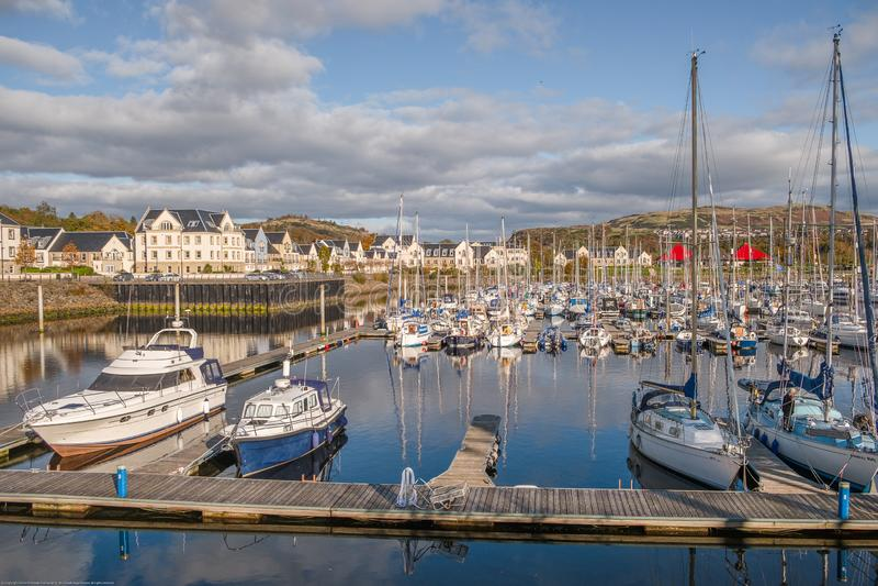 Kip Village & Marina at the end of the Sailing Season in Scotland stock image