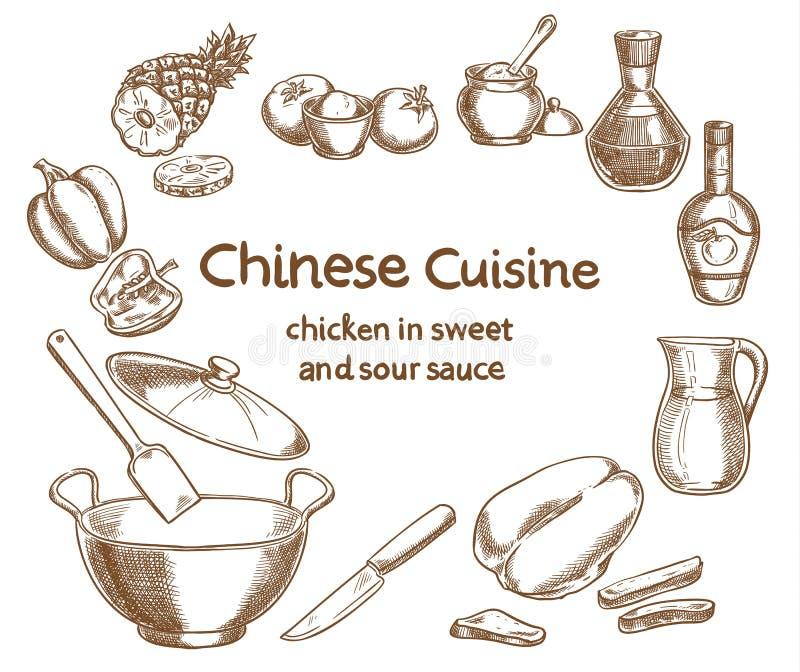 Kip in zoetzure saus, ingrediënten stock illustratie