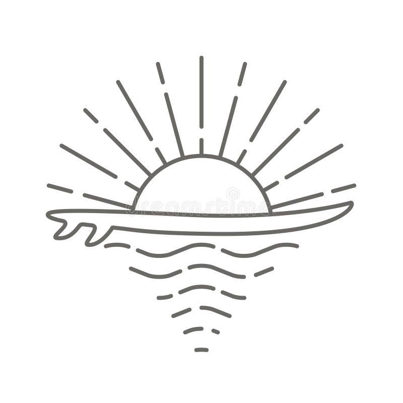 Kipieli deska i morze wschód słońca royalty ilustracja