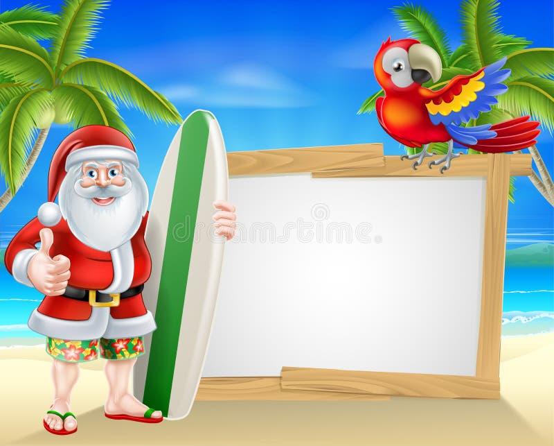 Kipieli deski Santa plaży Tropikalny znak royalty ilustracja