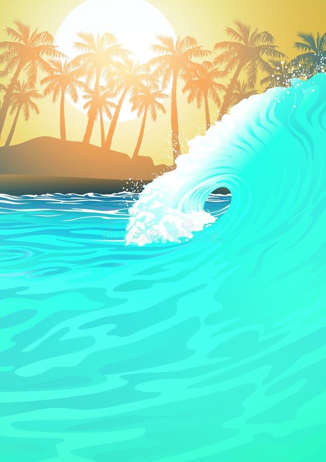 Kipieli fala przy plażą przy wschodem słońca ilustracja wektor